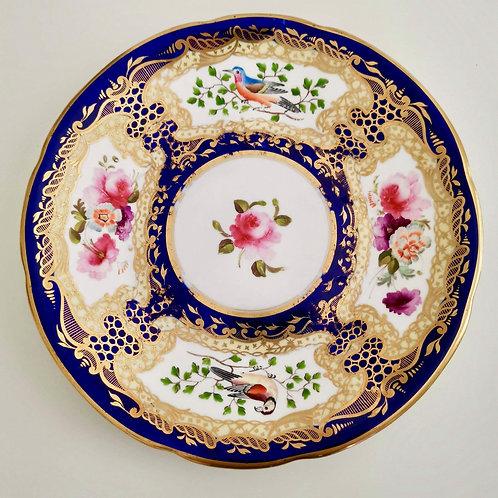 Coalport plate, pattern 759 birds and flowers, 1815-1820