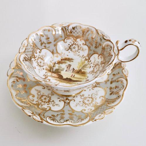 Coalport teacup, Adelaide shape patt.2/688 landscapes, 1831 (3)
