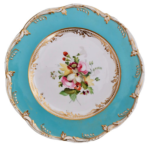 Coalport plate, sky blue with flowers by Thomas Dixon, 1845-1850 (1)