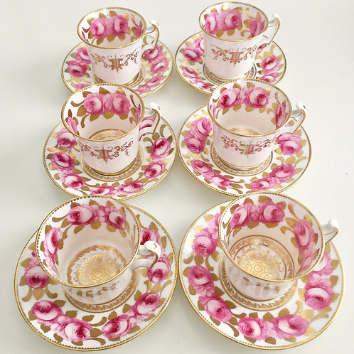 Antique set of 6 coffeecups, Davenport 1820-1825