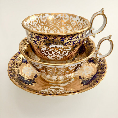 Tea/coffee cup trio, lavish gilt pattern, Minton ca 1845