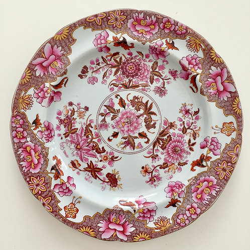 Spode stone china plate, pink Japan pattern 3144, 1812-1833