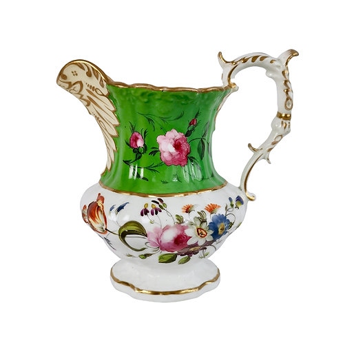 Hilditch pitcher, apple green with hand painted flowers, 1830-1845