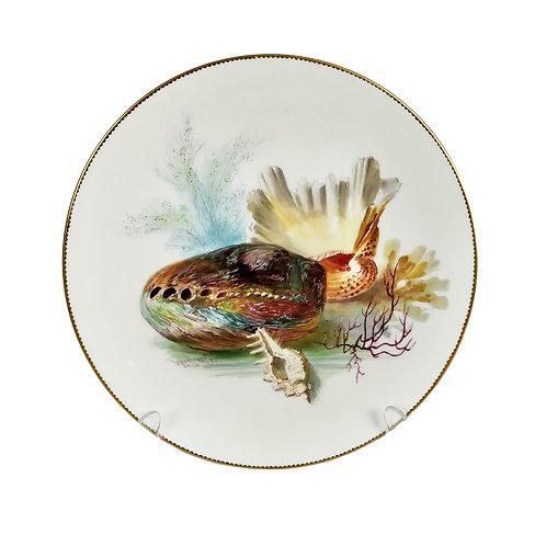 Dessert plate, Minton, sea shells by W. Mussill, 1891