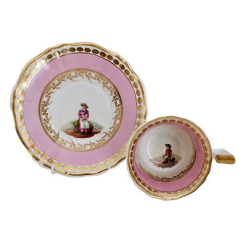 Coalport coffee cup, pink with lady and gentleman, ca 1825 A/F