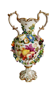 Superb Minton vase, fruits by Thomas Steel, 1830-1835