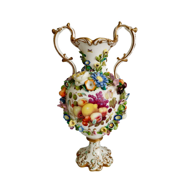 Minton vase with fruit paintings by Thomas Steel, 1830-1835