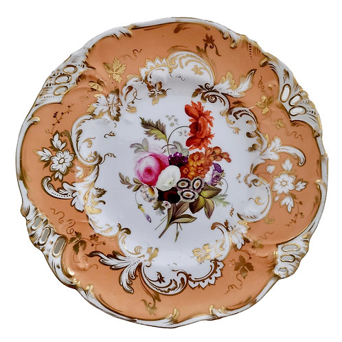 Coalport dessert plate, pierced rim and hand painted flowers, ca 1835