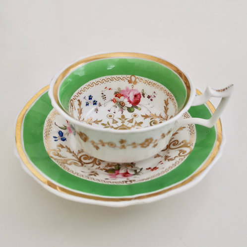 Yates teacup and saucer, apple green, 1820-1825