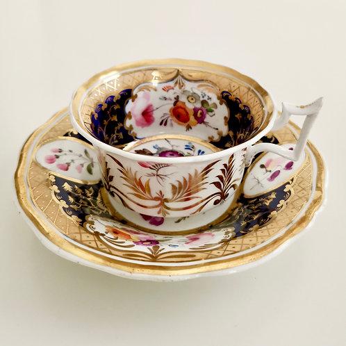 New Hall teacup, cobalt blue, gilt and superb flowers, ca 1825