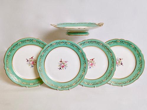 Part dessert service for 4, Samuel Alcock ca 1850