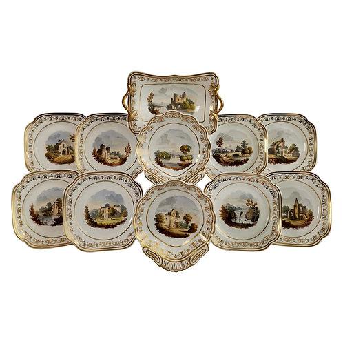 Spode Felspar dessert service, landscape paintings, ca 1820