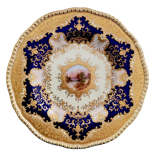 Coalport cabinet plate, landscape patt. X.1995 by Ted Ball, 1900 A/F