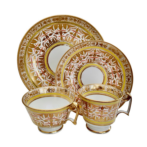 Spode quartet, gilt, yellow and red Regency pattern, ca 1815