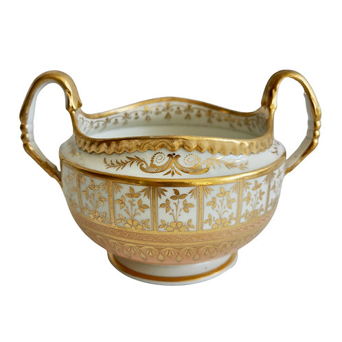 Flight Barr and Barr open sucrier, pale peach and gilt, Regency 1816-1820