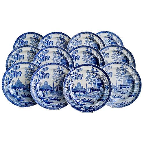 "Set of 12 Spode pearlware plates, ""Tiber"" pattern, 1811-1833"