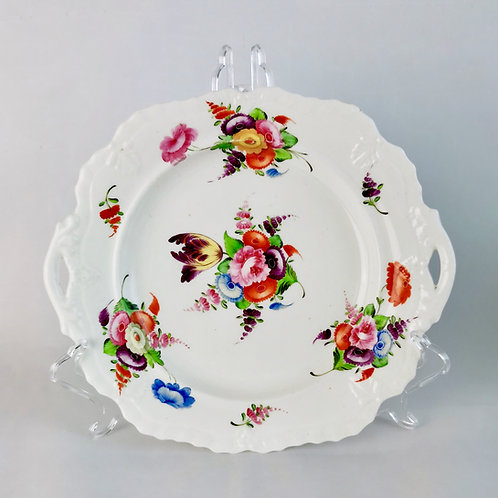 Coalport 2-handled plate, Swansea style flowers, ca 1820