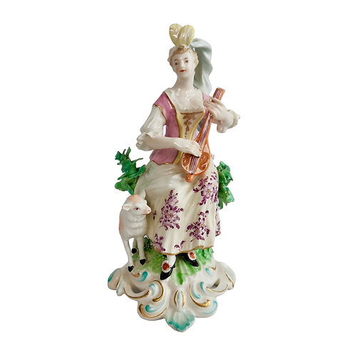 Chelsea-Derby figure of Lady with Lute, ca 1770