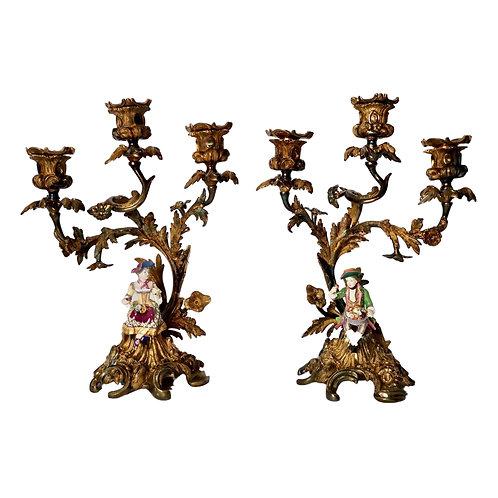 Pair of 2 Ormolu candelabra, Minton figures, Rococo Revival ca 1835