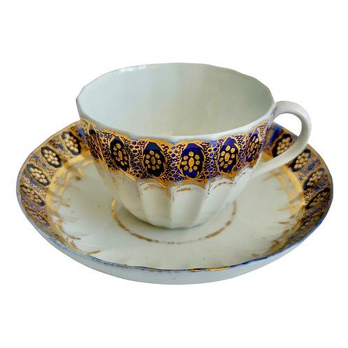 Coalport John Rose fluted teacup, cobalt blue, gilt, 1800-1805 (A/F)