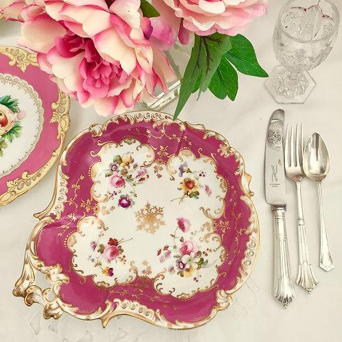 Antique dessert serving dish, Rococo Coalport ca 1830
