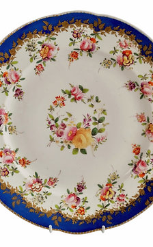 Coalport plate, royal blue with flower garlands, 1820-1825
