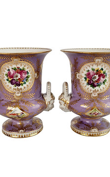 Two campana vases attr. to Edmé Samson, lilac, birds and flowers, ca 1815