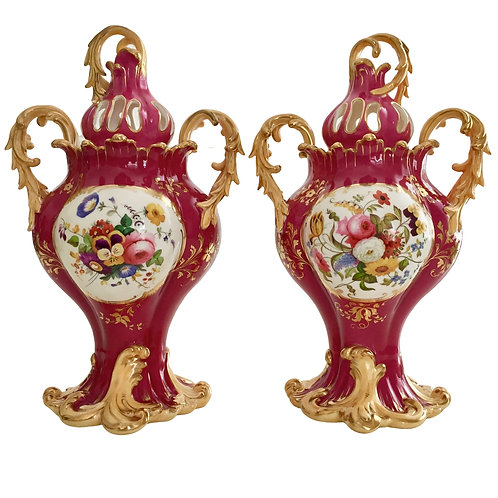 Pair of Rococo Revival vases, Samuel Alcock ca 1840