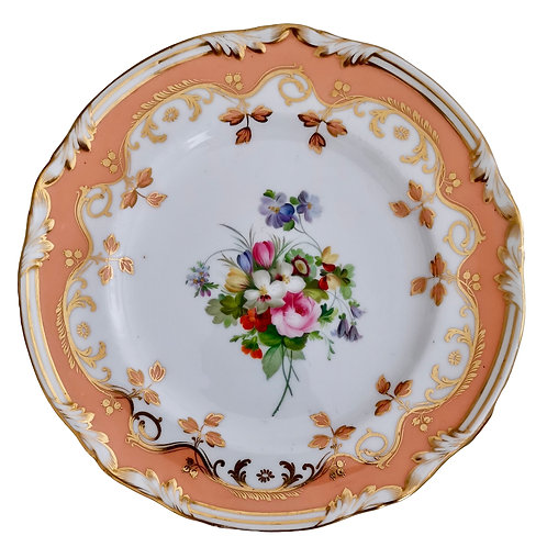Coalport plate, peach ground and flowers by Thomas Dixon, ca 1850 (2)