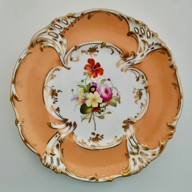 Coalport plate, Rococo Revival pierced ca 1835
