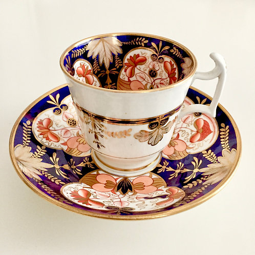 Coffee cup and saucer, hand painted Imari flowers, Spode 1813-1821