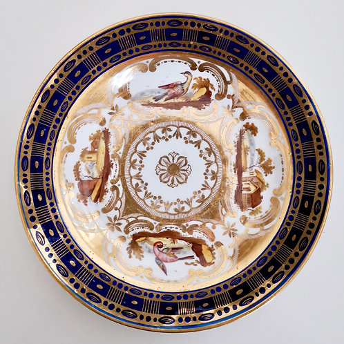 John Rose Coalport plate with birds and landscapes, ca 1810