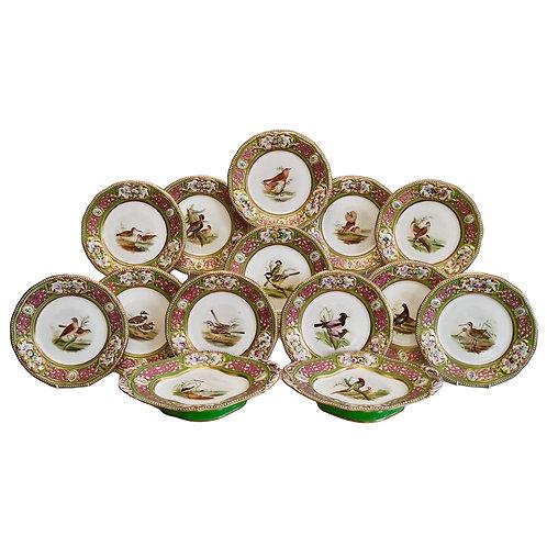 Grainger Worcester dessert service, Persian revival with birds, 1855