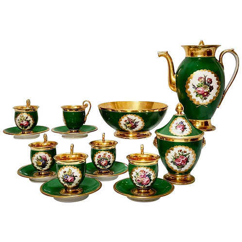 Paris coffee service, emerald green, Empire style ca 1820