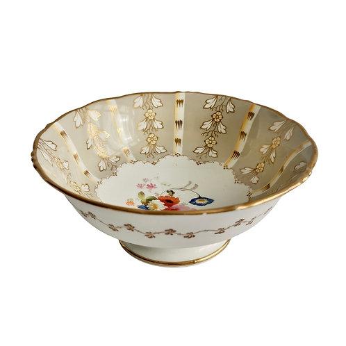 Samuel Alcock slop bowl, grey striped with flower Rococo Revival ca 1845