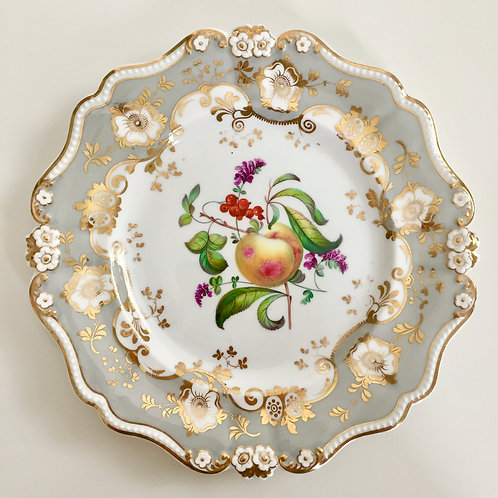Dessert plate with hand painted peach, Ridgway ca 1830
