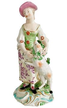 Derby Figure of Shepherdess with Garlanded Lamb, ca 1760