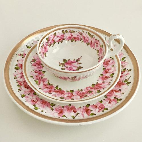 Rare breakfast trio, Billingsley roses, Swansea 1820