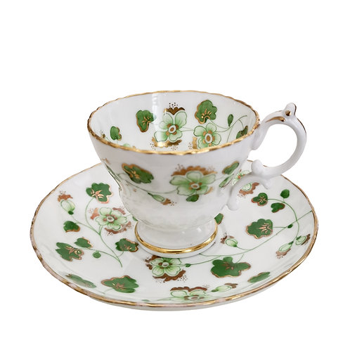 Ridgway coffee cup, green floral design 2/4023, ca 1840