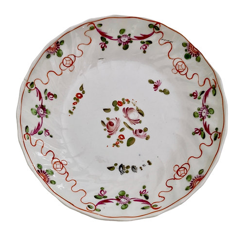 New Hall orpaned saucer, Knitting Wool pattern 195, 1790s