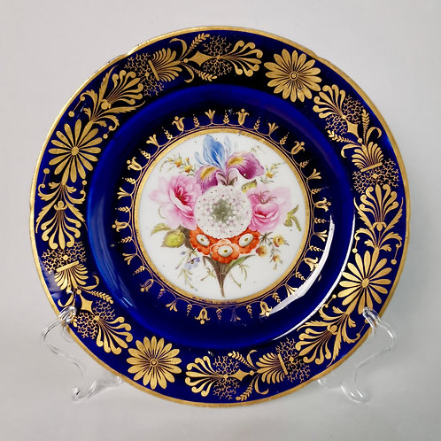 Coalport John Rose plate, Cobalt blue with sublime flowers and gilt, ca 1800
