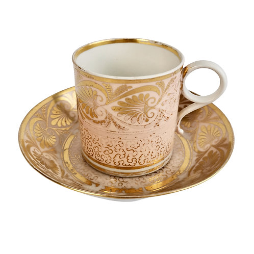 Barr Flight and Barr coffee can, salmon pink with gilt, 1811-1813 A/F