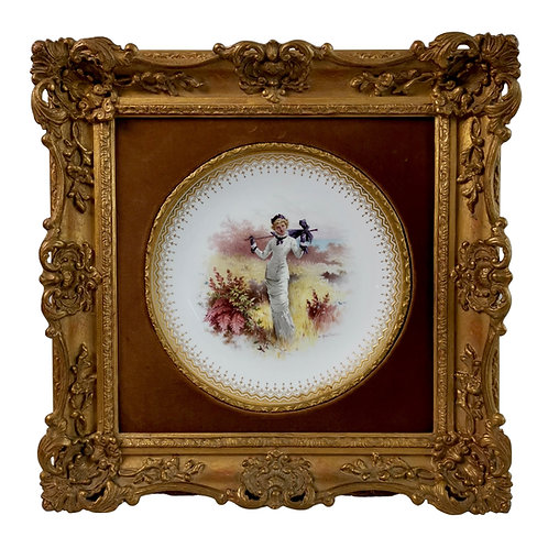 Minton plate in Italianate gilt frame, lady in dune landscape, A.Boullemier 1882