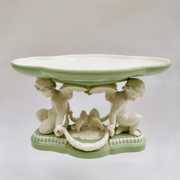 Minton tazza with parian cherubs and doves, 1855