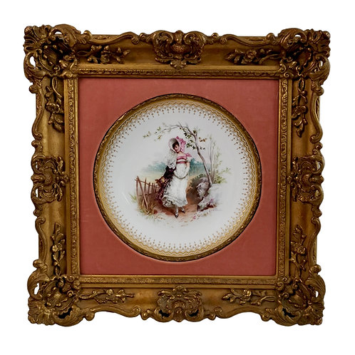 Minton plate in Italianate gilt frame, girl in the fields, A. Boullemier 1882