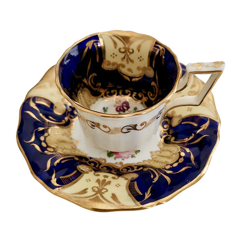 Davenport coffee cup and saucer, cobalt blue and flowers patt.812, ca 1825