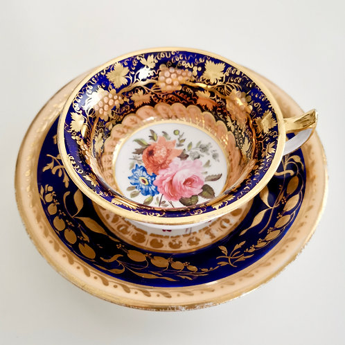 Staffordshire mix and match teacup, superb flowers 1820-1825