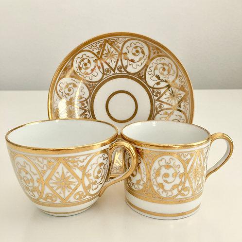 Ridgway tea/coffee cup trio, Regency ca 1810