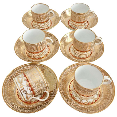 Set of 6 coffee cans, Thomas Rose Coalport, ca 1815