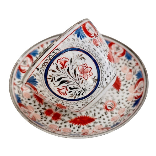 Miles Mason pearlware teacup, red, blue and silver pattern, ca 1810